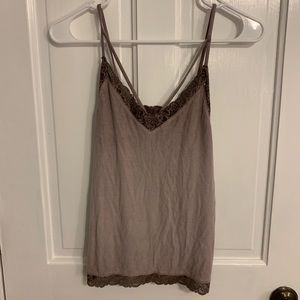 American Eagle Purple Tank Lace Ribbed Size Small